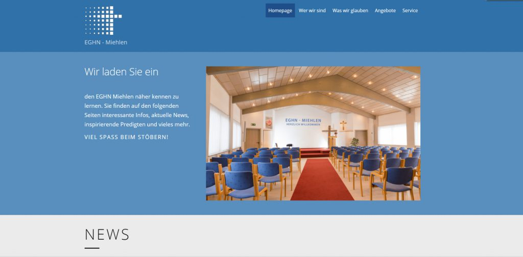 Webseite ev. Gemeinschaft
